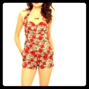 Hot topic Cheetah print with red roses playsuit